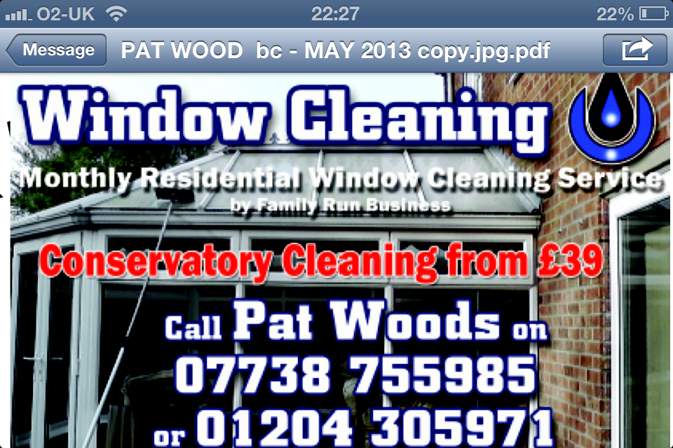 Pat Woods Window Cleaning Services Bromley Cross Bolton Window Cleaners Opening Times And Reviews